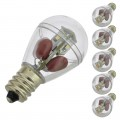 E12 Base S8 1-Watt LED Bulb with 16xSMD3014 and Clear Cover 100-240V AC (6-Pack)