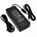 24V 6.25A 150W AC/DC Power Adapter with 5.5x2.5mm DC Plug and 2.1mm Adapter, Black, UL-Listed